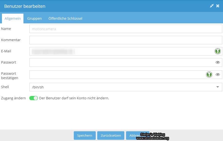 omv - Neuer Benutzer einrichten