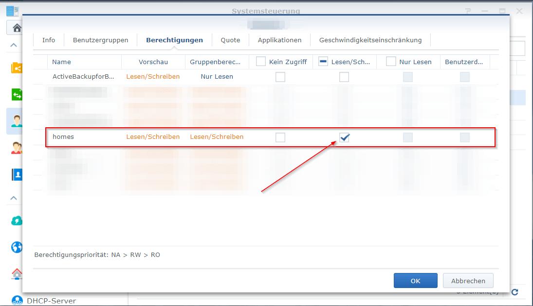 Synology - Benutzer Zugriffsrechte gewähren