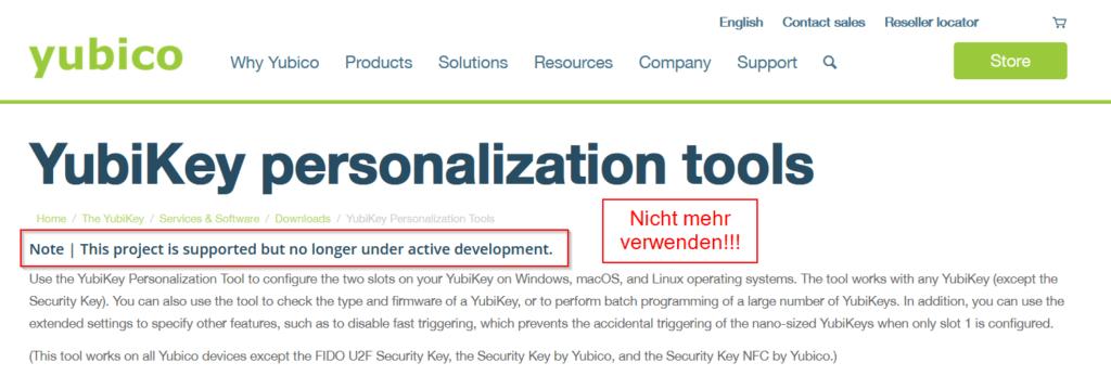 YubiKey personalization tools ist veraltet