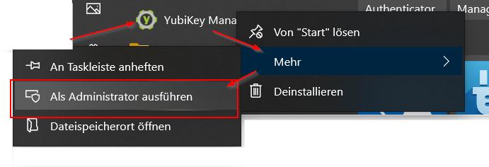 YubiKey Manager als Administrator ausführen
