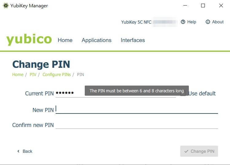 PIV - neue PIN vergeben