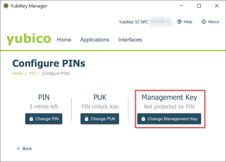 PIV - Management Key