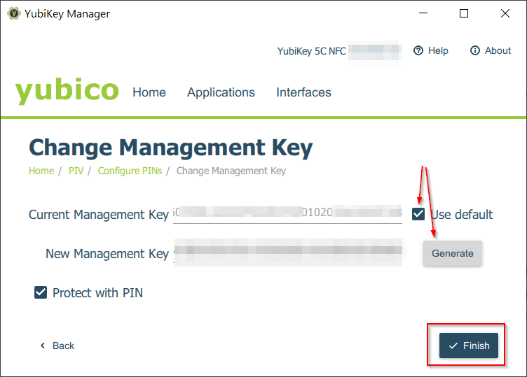 PIV - Management Key - Protect with PIN