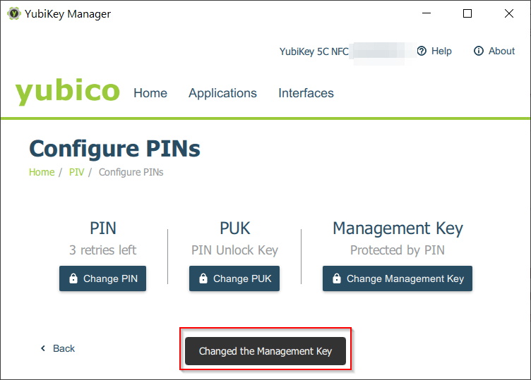 PIV - Changed the Management Key