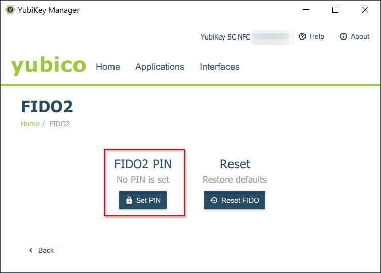 FIDO2 PIN vergeben