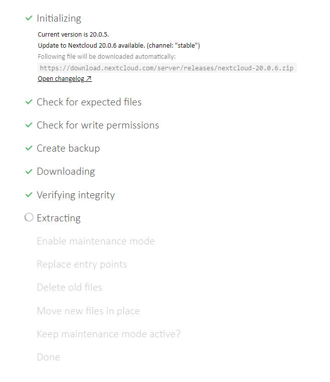 Nextcloud Update auf 20.0.6