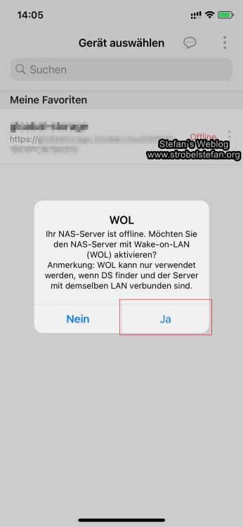 DS finder - Wake-On-LAN