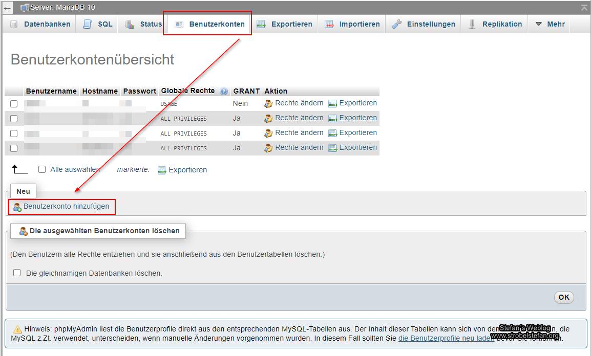 MariaDB - Benutzer und Datenbank anlegen