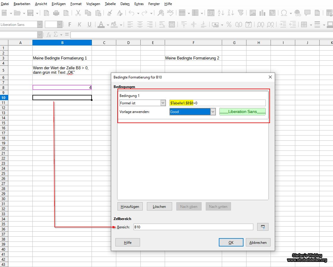 LibreOffice Calc - Bedingte Formatierung kopieren