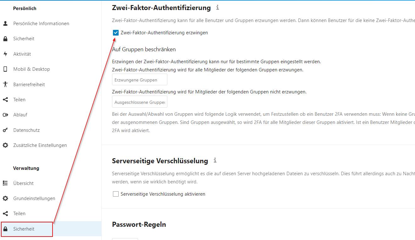 Nextcloud - Zwei-Faktor-Authentifizierung erzwingen