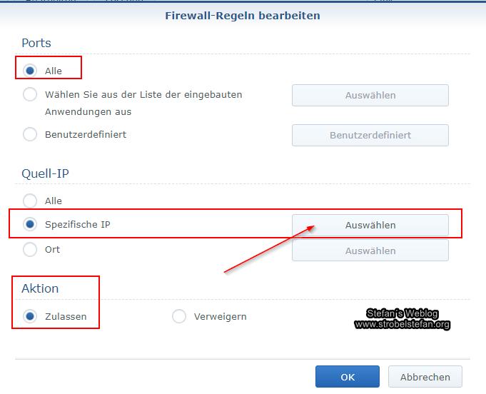 Synology Firewall Regel für internes Netzwerk