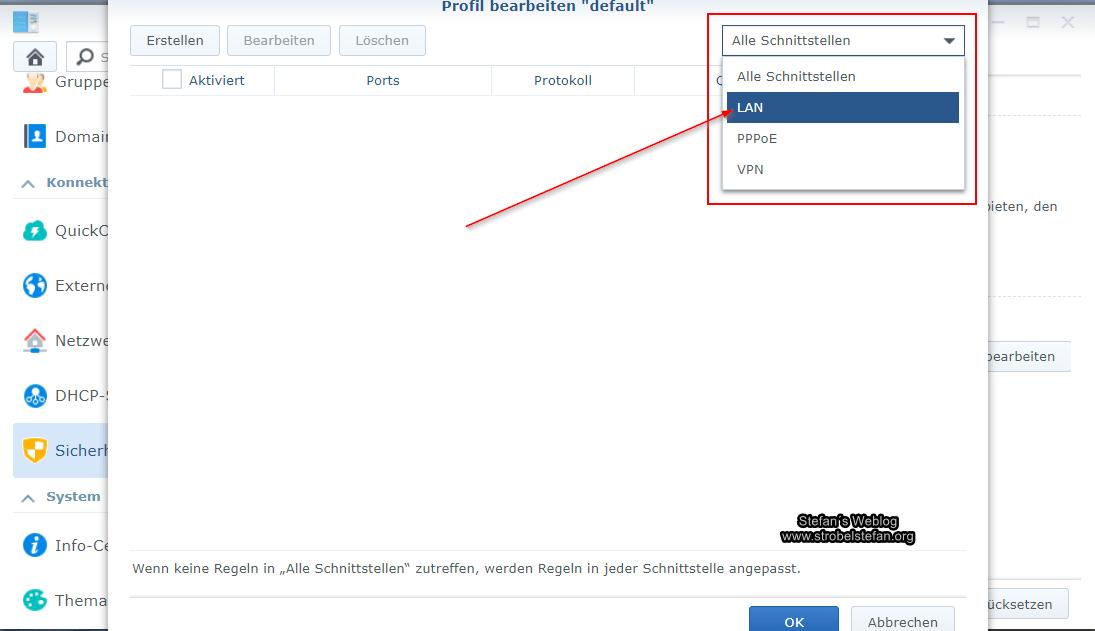 Synology Firewall - Schnittstelle wählen
