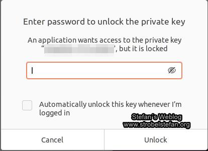 SSH - Passwortabfrage für Zugriff auf privaten Key