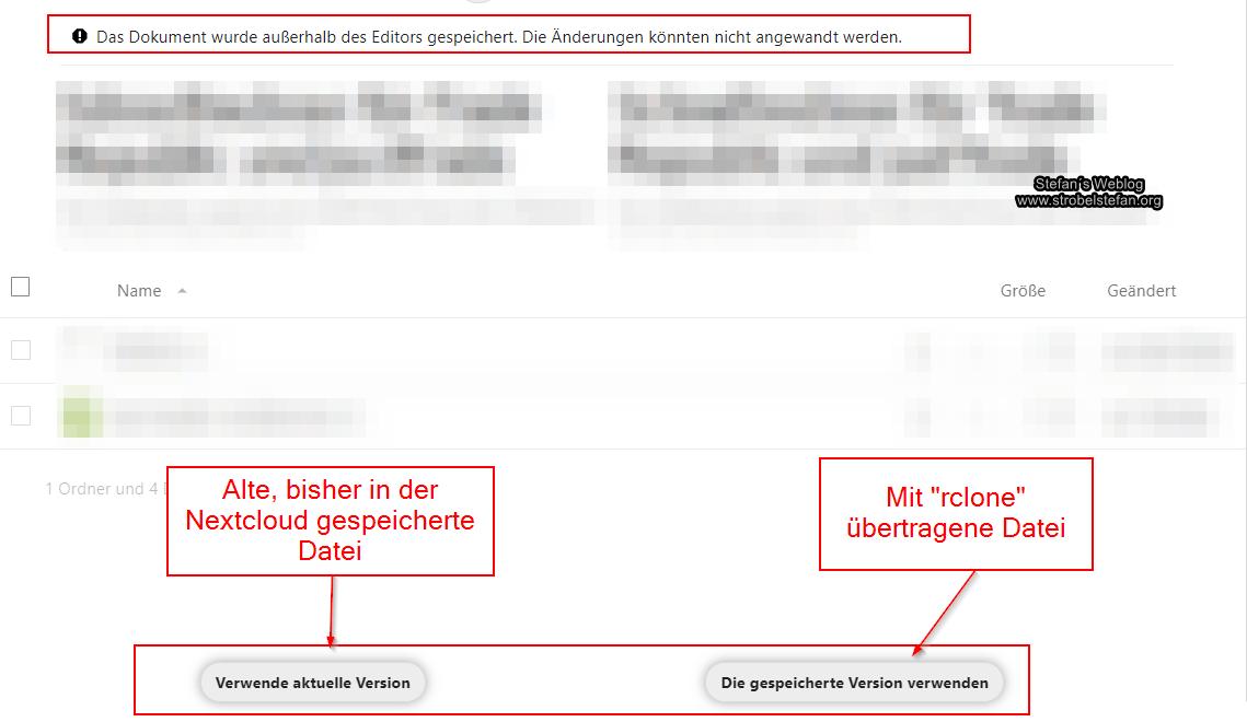 Nextcloud - Das Dokument wurde außerhalb des Editors gespeichert