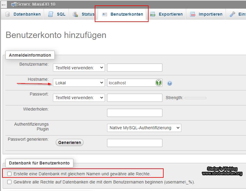 Benutzer und Datenbank anlegen
