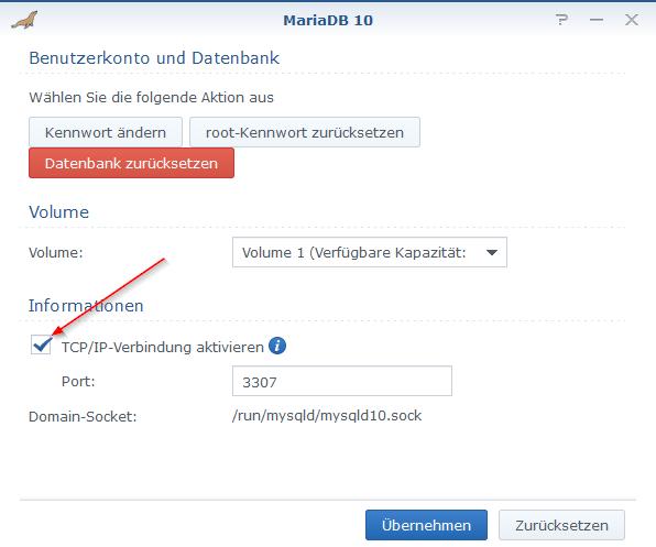 MariaDB-Server Port aktivieren
