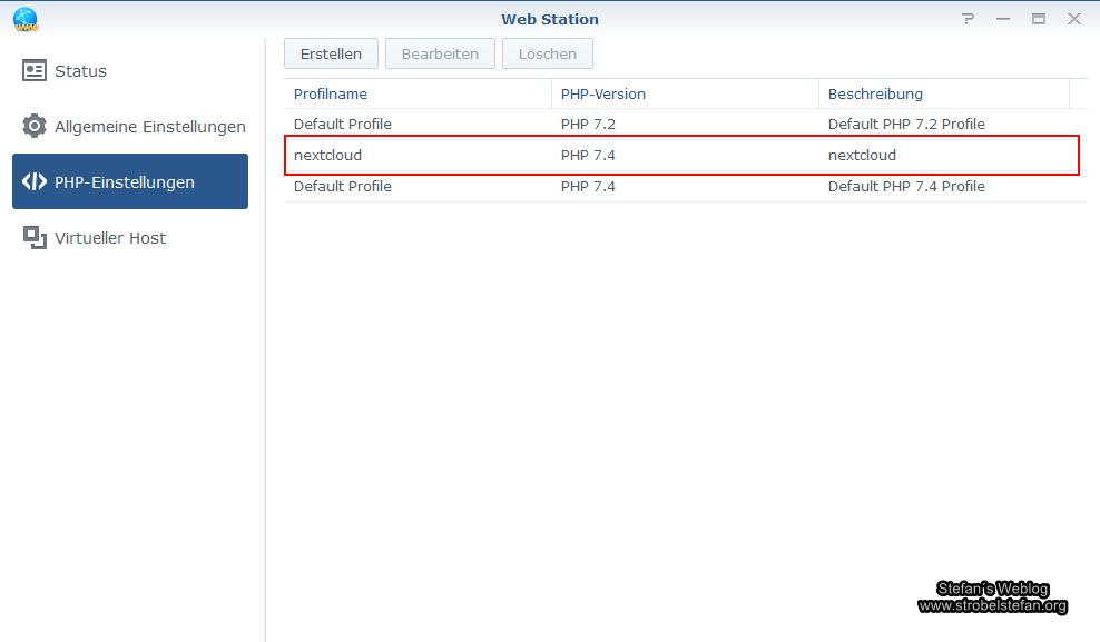 Web Station - PHP-Profile