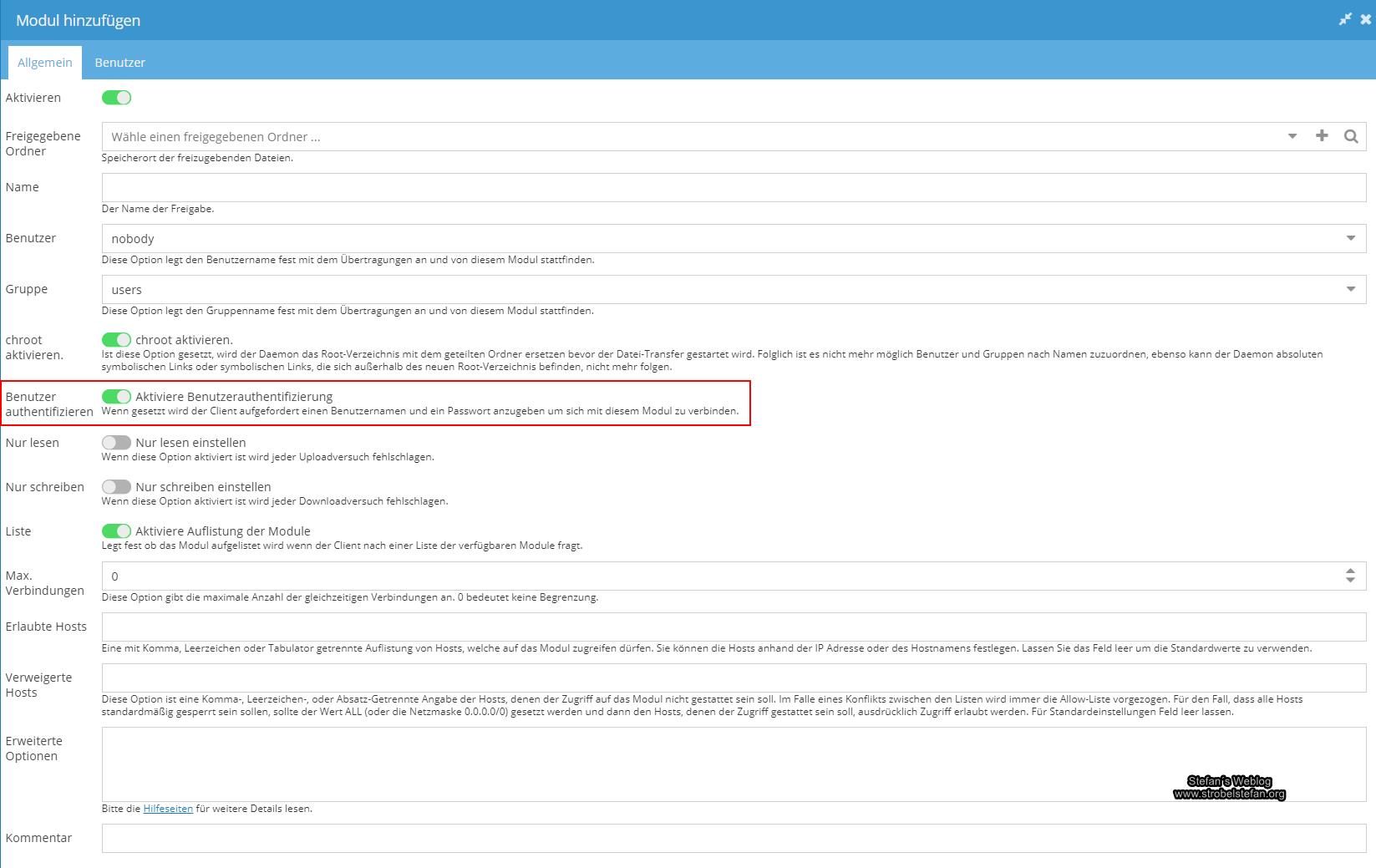 openmediavault - rsync-Einstellungen